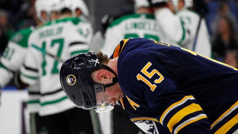 Buffalo Sabres forward Jack Eichel (15) reacts as the Dallas Stars players celebrate a goal during the second period of an NHL hockey game, Saturday, Jan. 20, 2018, in Buffalo, N.Y. (AP Photo/Jeffrey T. Barnes)