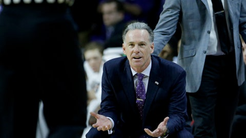 TCU head coach Jamie Dixon reacts after getting ejected from the game during the second half of an NCAA college basketball game against Kansas State Saturday, Jan. 20, 2018, in Manhattan, Kan. Kansas State won 73-68. (AP Photo/Charlie Riedel)
