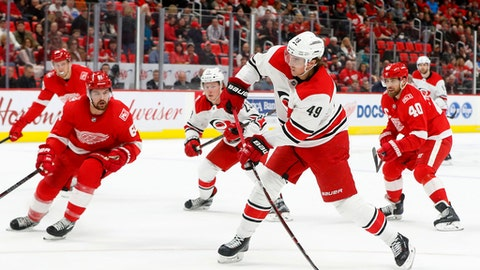 Carolina Hurricanes center Victor Rask (49) shoots against the Detroit Red Wings in the first period of an NHL hockey game Saturday, Jan. 20, 2018, in Detroit. (AP Photo/Paul Sancya)