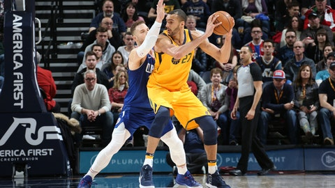 SALT LAKE CITY, UT - JANUARY 20: Rudy Gobert #27 of the Utah Jazz jocks for a position during the game against the LA Clippers on January 20, 2018 at Vivint Smart Home Arena in Salt Lake City, Utah. NOTE TO USER: User expressly acknowledges and agrees that, by downloading and/or using this photograph, user is consenting to the terms and conditions of the Getty Images License Agreement. Mandatory Copyright Notice: Copyright 2018 NBAE (Photo by Melissa Majchrzak/NBAE via Getty Images)