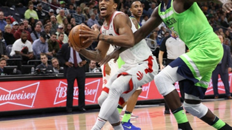 MINNEAPOLIS, MN -  JANUARY 20:  DeMar DeRozan #10 of the Toronto Raptors handles the ball against the Minnesota Timberwolves on January 20, 2018 at Target Center in Minneapolis, Minnesota. NOTE TO USER: User expressly acknowledges and agrees that, by downloading and or using this Photograph, user is consenting to the terms and conditions of the Getty Images License Agreement. Mandatory Copyright Notice: Copyright 2018 NBAE (Photo by Jordan Johnson/NBAE via Getty Images)