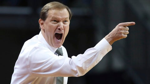 Oregon coach Dana Altman call to his team during the second half of its NCAA college basketball game against UCLA on Saturday, Jan. 20, 2018, in Eugene, Ore. (AP Photo/Chris Pietsch)