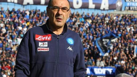 Napoli coach Maurizio Sarri walks on the pitch prior to the Serie A soccer match between Atalanta and Napoli at the Atleti Azzurri d'Italia stadium in Bergamo, Italy, Sunday, Jan. 21, 2018. (Paolo Magni/ANSA via AP)