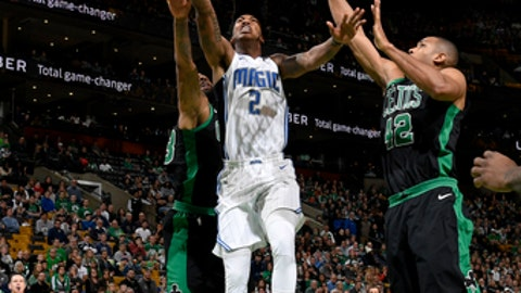 BOSTON, MA - JANUARY 21:  Elfrid Payton #2 of the Orlando Magic goes to the basket against the Boston Celtics on January 21, 2018 at the TD Garden in Boston, Massachusetts.  NOTE TO USER: User expressly acknowledges and agrees that, by downloading and or using this photograph, User is consenting to the terms and conditions of the Getty Images License Agreement. Mandatory Copyright Notice: Copyright 2018 NBAE  (Photo by Brian Babineau/NBAE via Getty Images)