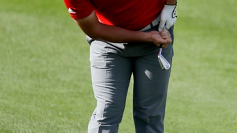 Jon Rahm watches his shot from the fairway on the fifth hole during the final round of the CareerBuilder Challenge golf tournament on the Stadium Course at PGA West, Sunday, Jan. 21, 2018, in La Quinta, Calif. (AP Photo/Chris Carlson)