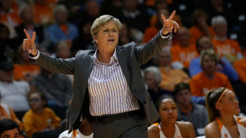 Tennessee head coach Holly Warlick yells direction to her players in the first half of an NCAA college basketball game against Mississippi State on Sunday, Jan. 21, 2018, in Knoxville, Tenn. (AP Photo/Crystal LoGiudice)