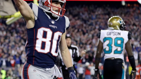 New England Patriots wide receiver Danny Amendola, left, celebrates his touchdown catch against the Jacksonville Jaguars during the second half of the AFC championship NFL football game, Sunday, Jan. 21, 2018, in Foxborough, Mass. (AP Photo/David J. Phillip)
