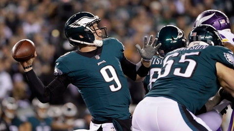 Philadelphia Eagles quarterback Nick Foles throws during the first half of the NFL football NFC championship game against the Minnesota Vikings Sunday, Jan. 21, 2018, in Philadelphia. (AP Photo/Matt Slocum)