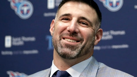 New Tennessee Titans NFL football head coach Mike Vrabel answers questions during a news conference Monday, Jan. 22, 2018, in Nashville, Tenn. The Titans hired Vrabel, formerly the Houston Texans defensive coordinator, five days after firing Mike Mularkey. (AP Photo/Mark Humphrey)