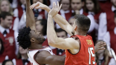 Indiana's Freddie McSwain Jr. has his shot blocked by Maryland's Michal Cekovsky during the first half of an NCAA college basketball game, Monday, Jan. 22, 2018, in Bloomington, Ind. (AP Photo/Darron Cummings)