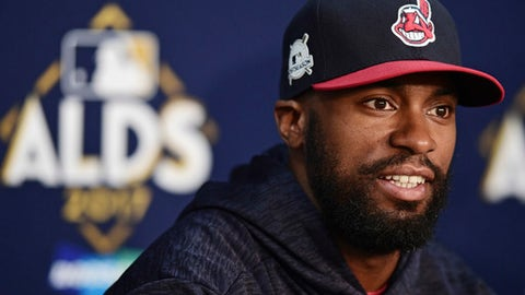 FILE - This Oct. 6, 2017 file photo shows Cleveland Indians' Austin Jackson answering questions during a news conference in Cleveland. Two people with knowledge of the contract say Jackson has agreed to terms on a $6 million, two-year contract with the San Francisco Giants, who are filling their top remaining void of the offseason just a few weeks before pitchers and catchers report to spring training. Jackson will earn $3 million per season, the two people said Monday, Jan. 22, 2018 speaking on condition of anonymity because nothing had been announced. (AP Photo/David Dermer, file)