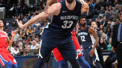 MEMPHIS, TN - JANUARY 22: Marc Gasol #33 of the Memphis Grizzlies boxes out against the Philadelphia 76ers on January 22, 2018 at FedExForum in Memphis, Tennessee. NOTE TO USER: User expressly acknowledges and agrees that, by downloading and or using this photograph, User is consenting to the terms and conditions of the Getty Images License Agreement. Mandatory Copyright Notice: Copyright 2018 NBAE (Photo by Joe Murphy/NBAE via Getty Images)