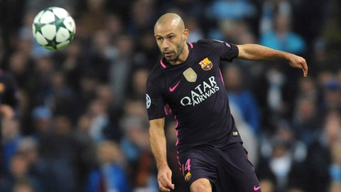 FILE - In this file photo dated Tuesday, Nov. 1, 2016, Barcelona's Javier Mascherano during the Champions League group C soccer match between Manchester City and Barcelona at the Etihad stadium in Manchester, England. The 33-year-old Argentina international and Barcelona defender Javier Mascherano is leaving the club after eight seasons, it is announced Tuesday Jan. 23, 2018, reportedly going to play in China. (AP Photo/Rui Vieira, FILE)