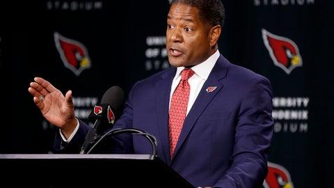 New Arizona Cardinals NFL football head coach Steve Wilks speaks, Tuesday, Jan. 23, 2018, after being introduced at the teams' training facility in Tempe, Ariz. (AP Photo/Matt York)