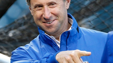 FILE - In this Oct. 5, 2016, file photo, New York Mets Chief Operating Officer Jeff Wilpon during batting practice before a National League wild-card baseball game against the San Francisco Giants, in New York. Wilpon defended the team's offseason spending, saying more moves are likely before opening day and during the season. (AP Photo/Kathy Willens, File)