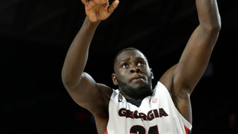 Georgia forward Derek Ogbeide shoots against Arkansas during the first half of an NCAA college basketball game in Athens, Ga., Tuesday, Jan. 23, 2018. (Joshua L. Jones/Athens Banner-Herald via AP)ns, Ga., Tuesday, Jan. 23, 2018. (Photo/Joshua L. Jones, Athens Banner-Herald)