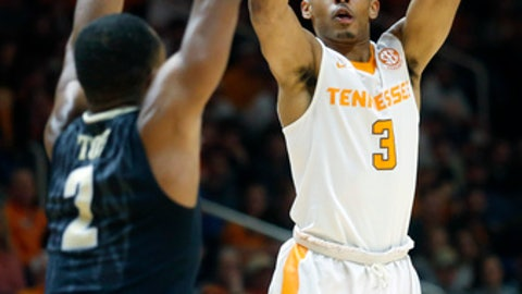 Tennessee guard James Daniel III (3) goes up for a basket in front of Vanderbilt guard Joe Toye (2) in the first half of an NCAA college basketball game Tuesday, Jan. 23, 2018, in Knoxville, Tenn. (AP Photo/Crystal LoGiudice)