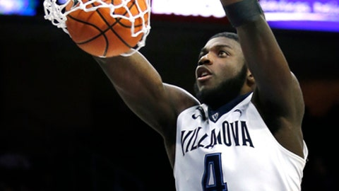 Villanova forward Eric Paschall (4) dunks the ball during the second half of an NCAA college basketball game against Providence, Tuesday, Jan. 23, 2018, in Philadelphia. Villanova won 89-69. (AP Photo/Laurence Kesterson)