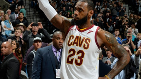 SAN ANTONIO, TX - JANUARY 23: LeBron James #23 of the Cleveland Cavaliers reacts after scoring his 30,000 career point during the game against the San Antonio Spurs on January 23, 2018 at the AT&T Center in San Antonio, Texas. NOTE TO USER: User expressly acknowledges and agrees that, by downloading and or using this photograph, user is consenting to the terms and conditions of the Getty Images License Agreement. Mandatory Copyright Notice: Copyright 2018 NBAE (Photos by Mark Sobhani/NBAE via Getty Images)
