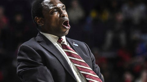 Alabama head coach Avery Johnson reacts during the game against Mississippi during an NCAA college basketball game in Oxford, Miss. on Tuesday, Jan. 23, 2018. (Bruce Newman/The Oxford Eagle via AP)