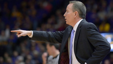 Texas A&M coach Billy Kennedy points during the team's NCAA college basketball game against LSU on Tuesday, Jan. 23, 2018, in Baton Rouge, La. (Hilary Scheinuk/The Advocate via AP)