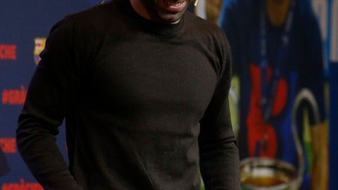 FC Barcelona's Javier Mascherano smiles during his farewell event at the Camp Nou stadium in Barcelona, Spain, Wednesday, Jan. 24, 2018. Barcelona have confirmed Javier Mascherano has signed with Chinese Super League outfit Hebei China Fortune after eight year in Barcelona. (AP Photo/Manu Fernandez)