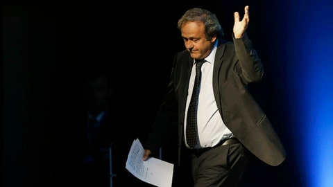 FILE - In this Wednesday, Sept. 14, 2016 file photo former UEFA President Michel Platini, waves after his speech during the vote for the new UEFA president in Athens. The former France soccer great who was banned by the FIFA ethics committee for alleged financial wrongdoing, Platini announced Wednesday Jan. 24, 2018, that is is taking his appeal to the European Court of Human Rights. (AP Photo/Thanassis Stavrakis, File)