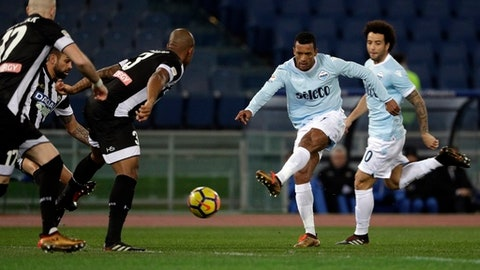 Lazio's Nani fires a shot during the Serie A soccer match between Lazio and Udinese, at the Rome Olympic stadium Wednesday, Jan. 24, 2018. (AP Photo/Gregorio Borgia)