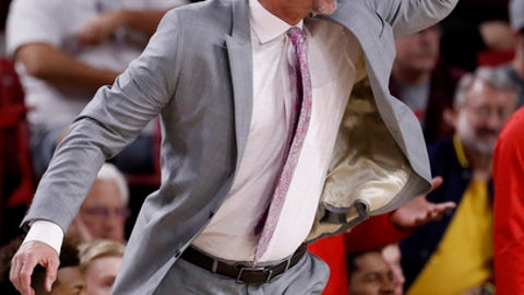Utah head coach Larry Krystkowiak reacts to a cal during the first half of an NCAA college basketball game against Arizona State, Thursday, Jan. 25, 2018, in Tempe, Ariz. (AP Photo/Matt York)
