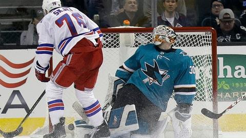 New York Rangers' Brady Skjei (76) scores past San Jose Sharks goaltender Aaron Dell during the second period of an NHL hockey game Thursday, Jan. 25, 2018, in San Jose, Calif. (AP Photo/Marcio Jose Sanchez)