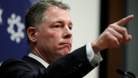 Pat Shurmur takes a question while talking to reporters after being introduced as head coach of the New York Giants during an NFL football news conference, Friday, Jan. 26, 2018, in East Rutherford , N.J. Shurmur, the former Minnesota Vikings offensive coordinator, was announced as the new coach less than 24 hours after he and the Vikings were beaten by the Philadelphia Eagles in the NFC title game. The 52-year-old Shurmur replaces Ben McAdoo, who was fired in early December. (AP Photo/Julio Cortez)
