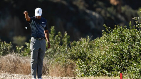 Tiger Woods takes a drop on the 13th hole hole of the North Course at Torrey Pines Golf Course during the second round of the Farmers Insurance Open golf tournament Friday, Jan. 26, 2018 in San Diego. (AP Photo/Gregory Bull)
