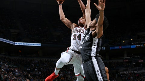 MILWAUKEE, WI - JANUARY 26: Giannis Antetokounmpo #34 of the Milwaukee Bucks goes to the basket against the Brooklyn Nets on January 26, 2018 at the BMO Harris Bradley Center in Milwaukee, Wisconsin. NOTE TO USER: User expressly acknowledges and agrees that, by downloading and or using this Photograph, user is consenting to the terms and conditions of the Getty Images License Agreement. Mandatory Copyright Notice: Copyright 2018 NBAE (Photo by Gary Dineen/NBAE via Getty Images)
