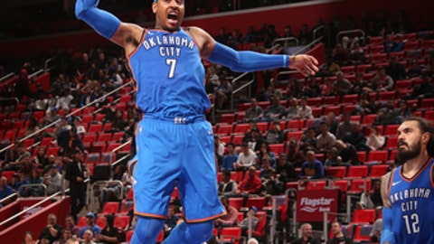 DETROIT, MI - JANUARY 27: Carmelo Anthony #7 of the Oklahoma City Thunder drives to the basket during the game against the Detroit Pistons on January 27, 2018 at Little Caesars Arena in Detroit, Michigan. NOTE TO USER: User expressly acknowledges and agrees that, by downloading and/or using this photograph, User is consenting to the terms and conditions of the Getty Images License Agreement. Mandatory Copyright Notice: Copyright 2018 NBAE (Photo by Brian Sevald/NBAE via Getty Images)