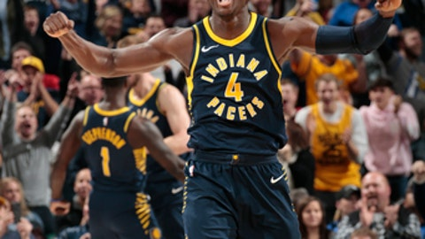 INDIANAPOLIS, IN - JANUARY 27: Victor Oladipo #4 of the Indiana Pacers reacts against the Orlando Magic on January 27, 2018 at Bankers Life Fieldhouse in Indianapolis, Indiana. NOTE TO USER: User expressly acknowledges and agrees that, by downloading and or using this Photograph, user is consenting to the terms and conditions of the Getty Images License Agreement. Mandatory Copyright Notice: Copyright 2018 NBAE (Photo by Ron Hoskins/NBAE via Getty Images)