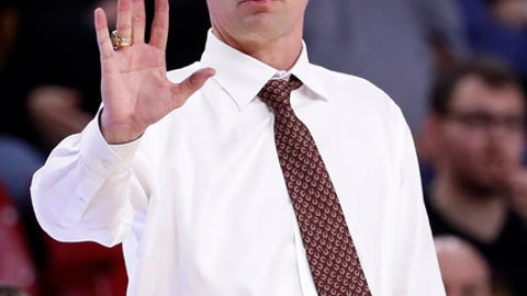 Arizona State head coach Bobby Hurley motions to his team during the second half of an NCAA college basketball game against Colorado, Saturday, Jan. 27, 2018, in Tempe, Ariz. (AP Photo/Matt York)