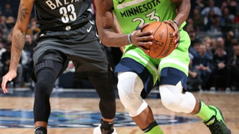 MINNEAPOLIS, MN - JANUARY 27:  Jimmy Butler #23 of the Minnesota Timberwolves handles the ball against the Brooklyn Nets on January 27, 2018 at Target Center in Minneapolis, Minnesota. NOTE TO USER: User expressly acknowledges and agrees that, by downloading and or using this Photograph, user is consenting to the terms and conditions of the Getty Images License Agreement. Mandatory Copyright Notice: Copyright 2018 NBAE (Photo by David Sherman/NBAE via Getty Images)