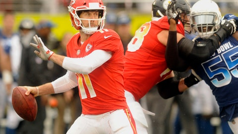 AFC quarterback Alex Smith (11), of the Kansas City Chiefs, looks to pass, during the first half of the NFL Pro Bowl football game against the NFC, Sunday, Jan. 28, 2018, in Orlando, Fla. (AP Photo/Steve Nesius)