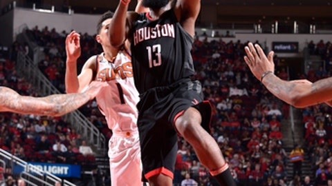 HOUSTON, TX - JANUARY 28:  James Harden #13 of the Houston Rockets drives to the basket against the Phoenix Suns on January 28, 2018 at the Toyota Center in Houston, Texas. NOTE TO USER: User expressly acknowledges and agrees that, by downloading and or using this photograph, User is consenting to the terms and conditions of the Getty Images License Agreement. Mandatory Copyright Notice: Copyright 2018 NBAE (Photo by Bill Baptist/NBAE via Getty Images)
