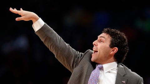 Georgia Tech head coach Josh Pastner directs his players in the first half of an NCAA college basketball game against Clemson, Sunday, Jan. 28, 2018, in Atlanta. (AP Photo/John Bazemore)