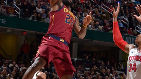 CLEVELAND, OH - JANUARY 28: LeBron James #23 of the Cleveland Cavaliers shoots the ball against the Detroit Pistons on January 28, 2018 at Quicken Loans Arena in Cleveland, Ohio.  NOTE TO USER: User expressly acknowledges and agrees that, by downloading and or using this Photograph, user is consenting to the terms and conditions of the Getty Images License Agreement. Mandatory Copyright Notice: Copyright 2018 NBAE (Photo by David Liam Kyle/NBAE via Getty Images)