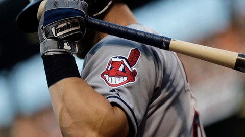 FILE - This June 26, 2015, file photo, shows the Cleveland Indians logo on a jersey during a baseball game against the Baltimore Orioles in Baltimore.  Indians are taking the divisive Chief Wahoo logo off their uniforms and caps, starting in 2019. (AP Photo/Patrick Semansky, File)