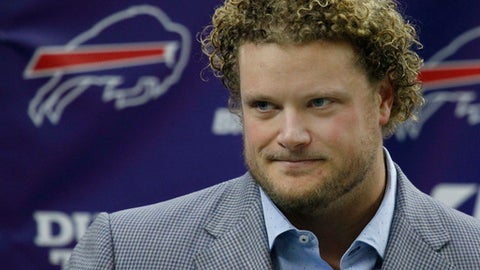 Buffalo Bills center Eric Wood addresses the media during a press conference announcing he has been diagnosed with a career ending neck injury, Monday, Jan. 29, 2018, in Orchard Park, N.Y. (AP Photo/Jeffrey T. Barnes)