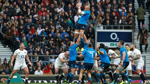 FILE - A Sunday, Feb. 26, 2017 file photo showing Italy's Sergio Parisse winning a lineout during the Six Nations rugby union match between England and Italy at Twickenham stadium in London. On 20 occasions, a country has won back-to-back titles in the northern hemisphere's top international championship _ its name has ranged from the Home Nations, the Five Nations and, currently, the Six Nations _ but none have managed three in a row outright. Heading into the 120th edition of the competition, England's class of 2018 is the latest team aiming to reach that elusive milestone. (AP Photo/Alastair Grant, File)