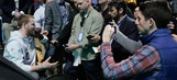 Injured Carson Wentz soaks in Super Bowl media night