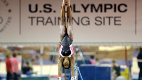 In this Sept, 12, 2015 photo, U.S. gymnast Gabby Douglas trains at the Karolyi Ranch near New Waverly, Texas. Texas Gov. Greg Abbott on Tuesday, Jan. 30, 2018, has ordered a criminal investigation into claims that former doctor Larry Nassar abused some of his victims at the Texas ranch that was the training ground for U.S. women's gymnastics .(AP Photo/David J. Phillip, File)