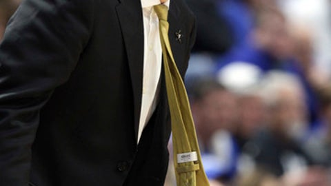 Vanderbilt head coach Bryce Drew watches his team during the first half of an NCAA college basketball game against Kentucky, Tuesday, Jan. 30, 2018, in Lexington, Ky. (AP Photo/James Crisp)