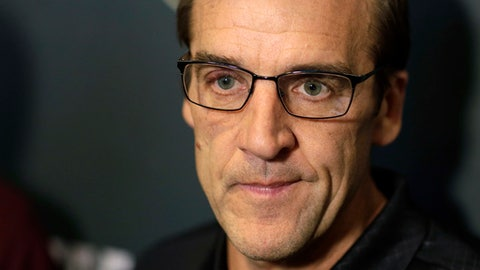 FILE - In this June 19, 2017, file photo, Vegas Golden Knights general manager George McPhee speaks during a news conference in Las Vegas. The Golden Knights' unpredictable success has put them in an unexpected spot going into the trade deadline. But McPhee isn't uneasy about it at all. (AP Photo/John Locher, File)