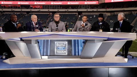 The Fox NFL crew broadcasts from the field before the NFL football NFC championship game between the Philadelphia Eagles and the Minnesota Vikings Sunday, Jan. 21, 2018, in Philadelphia. (AP Photo/Matt Rourke)
