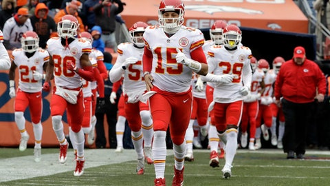 FLE - In this Dec. 31, 2017, file photo, Kansas City Chiefs quarterback Patrick Mahomes (15) enters the field before an NFL football game against the Denver Broncos in Denver. The countdown to the Mahomes era in Kansas City is down to six weeks, with no apparent caveats. The Chiefs' trade of Alex Smith to Washington becomes official in March, but already the Chiefs are preparing for life under a new QB. (AP Photo/Joe Mahoney, File)